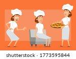 cartoon flat chef cook woman...   Shutterstock .eps vector #1773595844