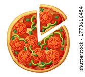 pizza top view. tomato  green... | Shutterstock . vector #1773616454