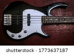 Electric Bass Guitar In White...