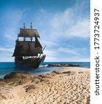 Vintage Black Pirate Ship...