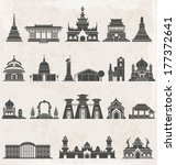 Asia Building Icons Set ...