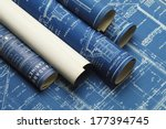 rolled house blueprints and... | Shutterstock . vector #177394745
