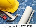blueprints and construction...   Shutterstock . vector #177394751