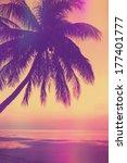 Vintage Stylized Tropical Beac...