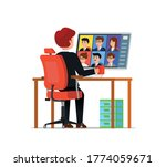 family video call during... | Shutterstock .eps vector #1774059671