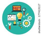infographics background seo... | Shutterstock .eps vector #177413117