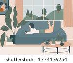 cozy handdrawn cartoon home...   Shutterstock .eps vector #1774176254