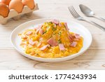Creamy Omelet with Ham on Rice or Rice with Ham and Soft Omelet