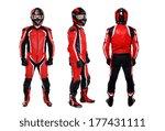 motorcyclist three sides view... | Shutterstock . vector #177431111