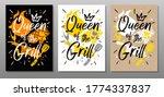 queen grill  quote food poster. ...   Shutterstock .eps vector #1774337837