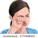 beautiful young woman rubbing...   Shutterstock .eps vector #1774368341