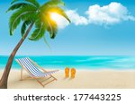 seaside view with a palm tree ... | Shutterstock .eps vector #177443225