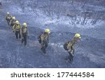 Fire Fighters Crossing Charred...