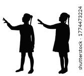 black silhouette child girl on... | Shutterstock .eps vector #1774473224