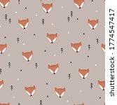 cute fox seamless background.... | Shutterstock .eps vector #1774547417