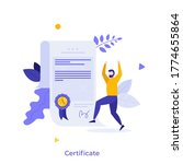 man and document with wafer... | Shutterstock .eps vector #1774655864