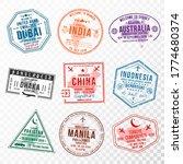 set of travel visa stamps for... | Shutterstock .eps vector #1774680374