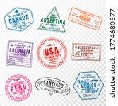 set of travel visa stamps for... | Shutterstock .eps vector #1774680377