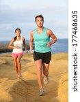runners couple jogging for...   Shutterstock . vector #177468635