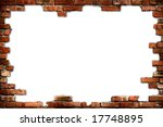 Grungy Red Brick Frame Isolate...