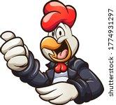 cartoon chicken wearing a black ... | Shutterstock .eps vector #1774931297