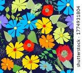 abstract flower seamless... | Shutterstock . vector #1774931804