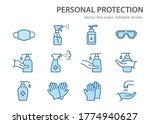 personal protection icons.... | Shutterstock .eps vector #1774940627