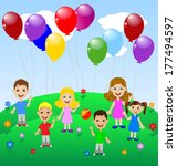 little child with balloon ... | Shutterstock .eps vector #177494597