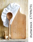 chef hat and empty cutting... | Shutterstock . vector #177496751