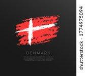 Flag Of Denmark In Grunge Brus...