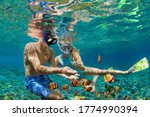 Small photo of Happy family vacation. Young couple in snorkeling mask hold hand, dive underwater with fishes in coral reef sea pool. Travel lifestyle, watersport adventure, swim activity on summer beach holiday