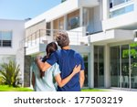 couple embracing in front of... | Shutterstock . vector #177503219