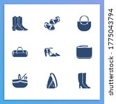 bags icon set and picnic basket ...