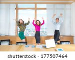 business women jumping to the... | Shutterstock . vector #177507464