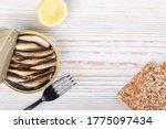 open can of sprat in oil on a...   Shutterstock . vector #1775097434