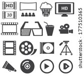 vector black cinema icons set | Shutterstock .eps vector #177510365