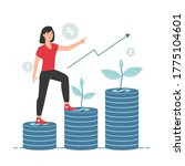 woman on stack of coins with...   Shutterstock .eps vector #1775104601