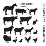 farm animals silhouettes set of ... | Shutterstock .eps vector #1775109374