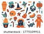 happy halloween design elements....   Shutterstock .eps vector #1775109911