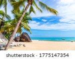 Scenery of seaside beach in Tianya Haijiao, Sanya City, Hainan Province, China