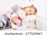 Cute Little Girl Hugging Soft...