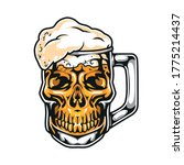 skull in shape of mug beer in... | Shutterstock .eps vector #1775214437