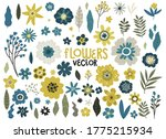 set of yellow and blue flowers... | Shutterstock .eps vector #1775215934