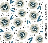 gray and blue flowers with... | Shutterstock .eps vector #1775215991