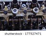 real used car motor engine part isolated on white background - stock photo