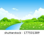 green landscape with trees ... | Shutterstock . vector #177531389