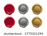wax seal set. golden  red and... | Shutterstock .eps vector #1775321294