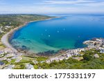 Aerial photograph of Coverack, Helston, Cornwall, England