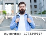 Small photo of Experience relaxing mood with zen sound. Bearded man listen to music with closed eyes. Meditation sound. Hi-Fi stereo sound. Soothing music. New technology. Modern life. Sound so good you cant resist.