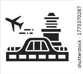 airport black glyph icon....